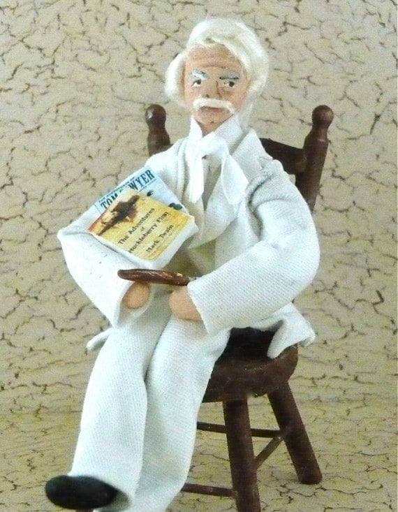 Mark Twain Doll Wooden Character Sitting in a Chair