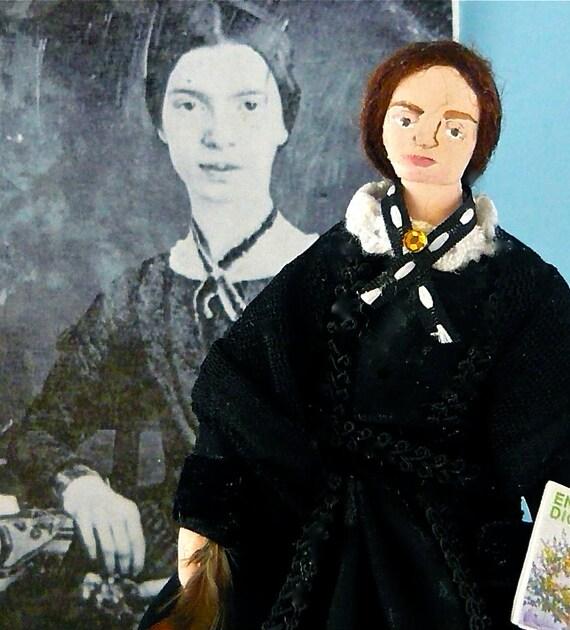 Emily Dickinson Doll in Black Dress Poet Miniature