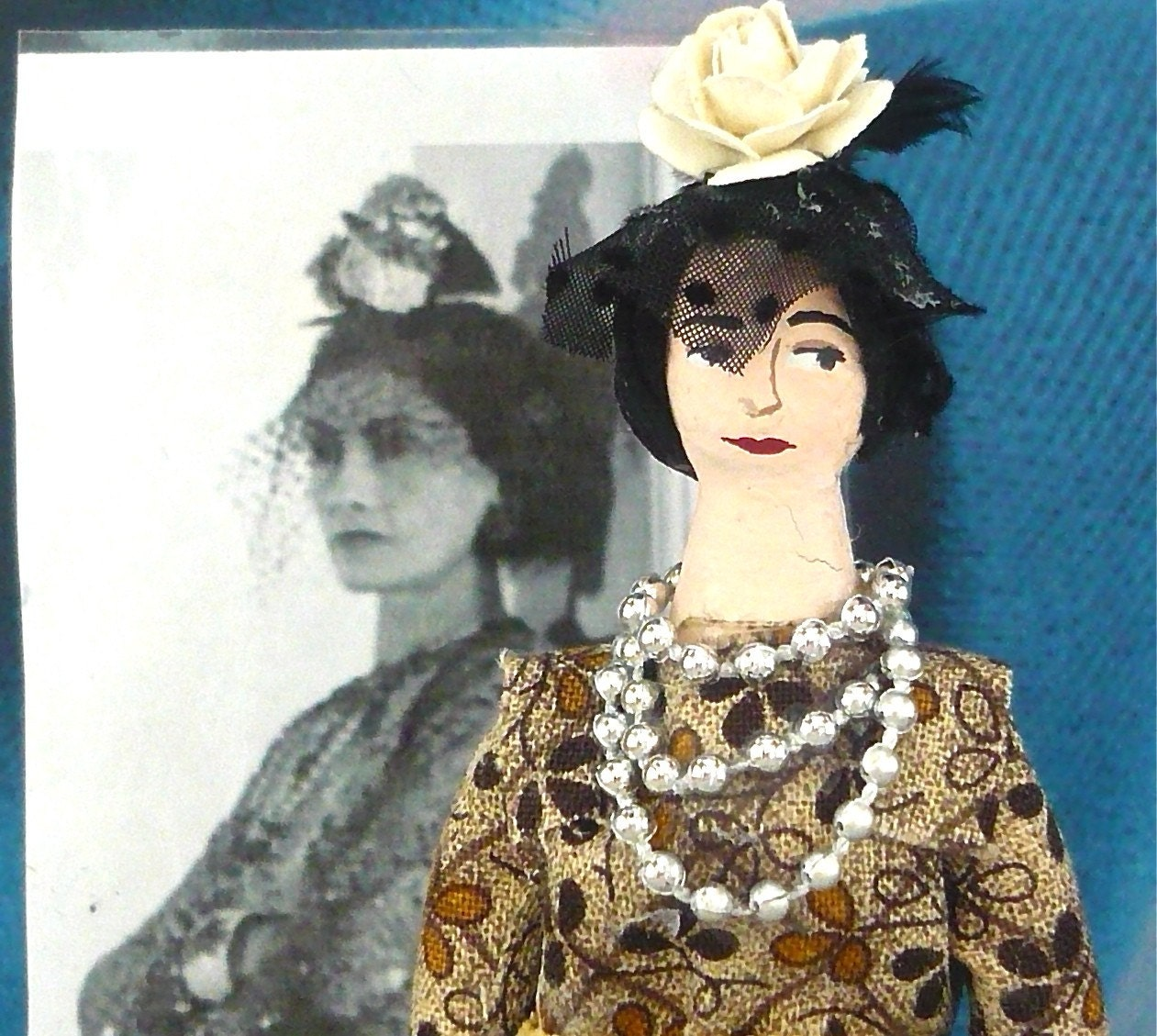 Coco Chanel With Veiled Hat Miniature Art Doll