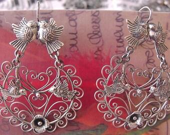 Frida style earrings Filigree with Lovebirds, ondita design and flowers