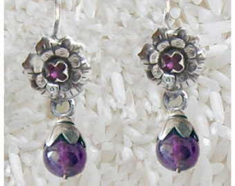 Frida Style earrings Rose with aAmethyst