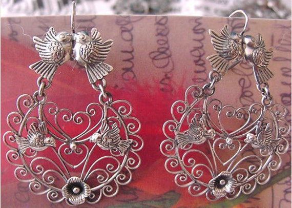 SALE Frida style earrings Filigree with Lovebirds, ondita design and flowers