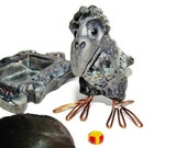 Raven in Raku Ceramic Miniature - Art Deco, Component, Jewelry or Other - Made to Order