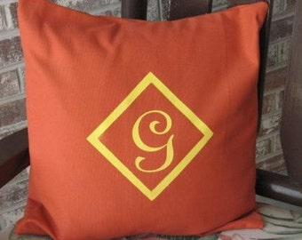Monogrammed Pillow Cover - Canvas - Rusty Brown and Yellow