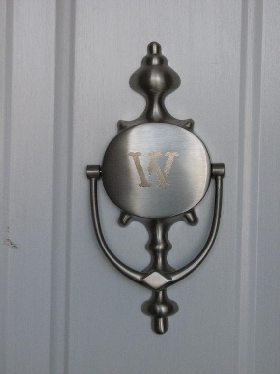 Engraved magnetic door knocker satin nickel by daisybeedesigns - Door knocker nickel ...