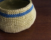 Maize and Teal hand crocheted basket, bowl, READY-TO-SHIP, fine quality mercerized cotton