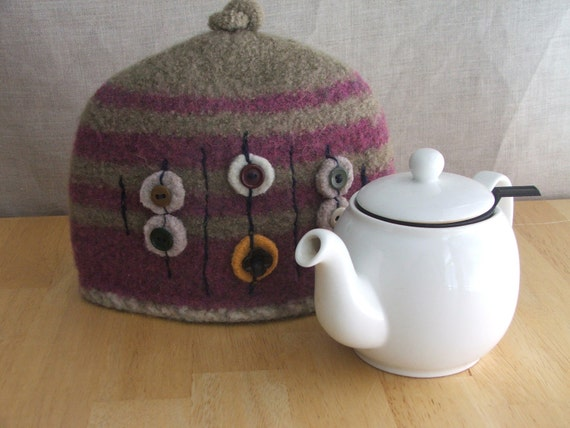 On Hold for Jessica Felted Teapot Cozy in Mulberry and Mocha with Repurposed Buttons, Teapot Cosy