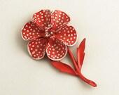 Vintage Flower Brooch Pin Metal Jewelry White Polka Dots on Red Enamel