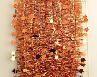 Coppery Orange Tinsel Garland Stars Halloween Decoration Made in Europe