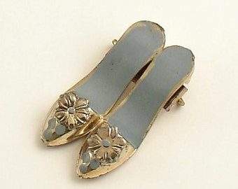 Vintage Jewelry Brooch Pair of Shoes
