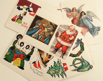 Christmas Stickers Labels Vintage Style Graphics Art Deco