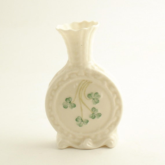 Vintage Belleek Vase Shamrocks