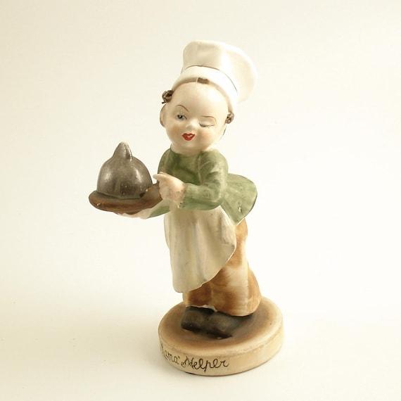 Vintage Figurine Mama's Helper Baking Boy