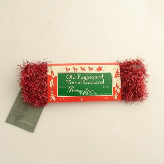 RED TINSEL GARLAND BETHANY LOWE 4TH OF JULY