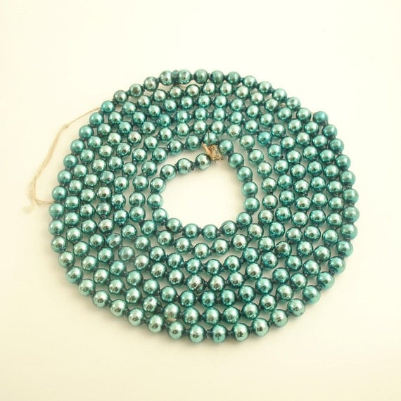 Vintage Glass Bead Garland Christmas Aqua