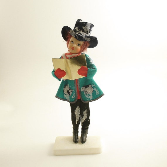 Ceramic Christmas Caroler Figurines Parma By Thepokeypoodle: Vintage Christmas Decoration Girl Caroler