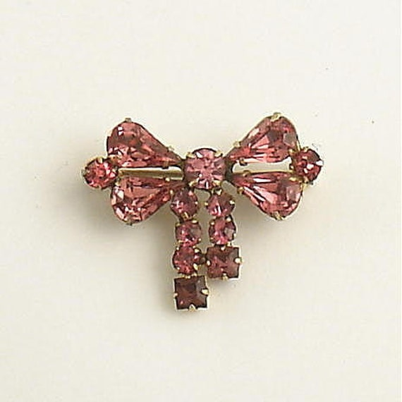 Vintage Pink Rhinestone Brooch Pin Bow Jewelry