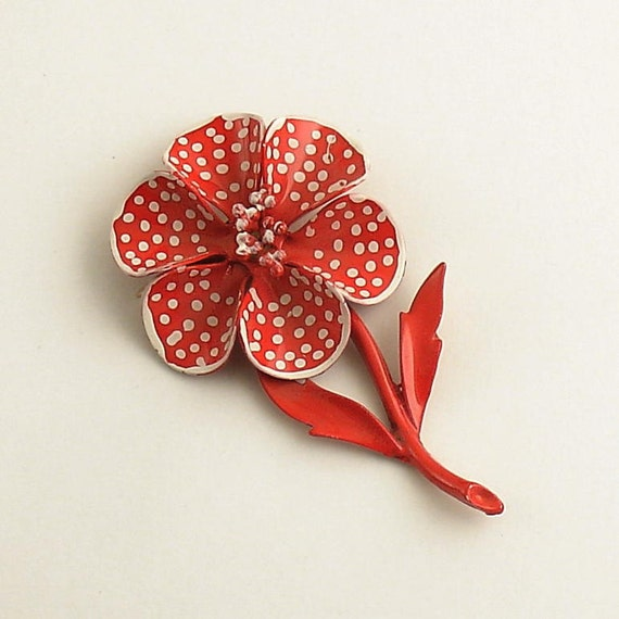 Vintage Flower Brooch Pin Metal Jewelry White Polka Dots on Red Enamel
