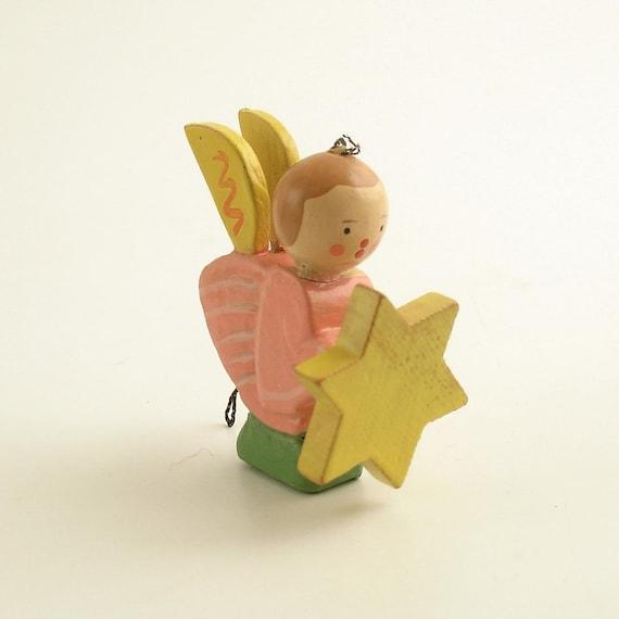 Vintage Christmas Ornament Wood Angel