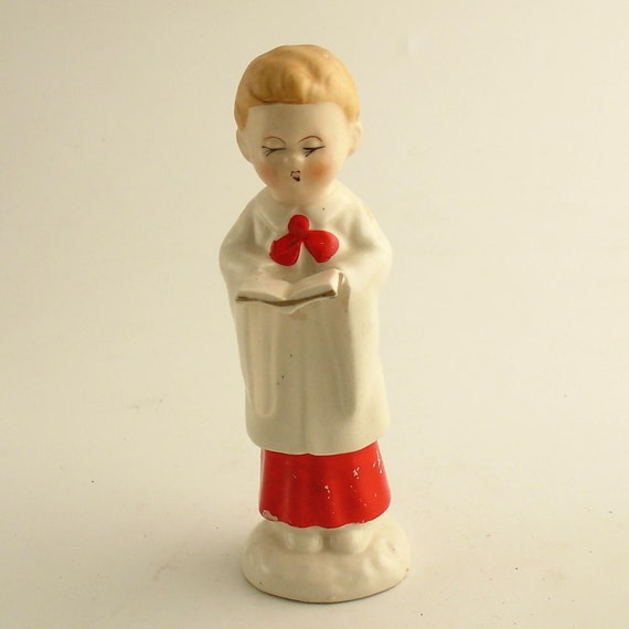 Vintage Ceramic Christmas Carolers Choir Boy And Girl: Vintage Choir Boy China Figurine Christmas Decoration