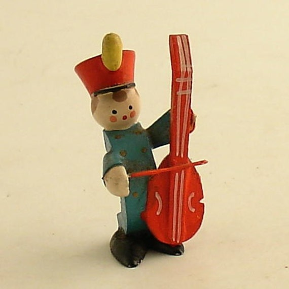 Vintage Christmas Wood Band Bass Fiddle Player Decoration Musician