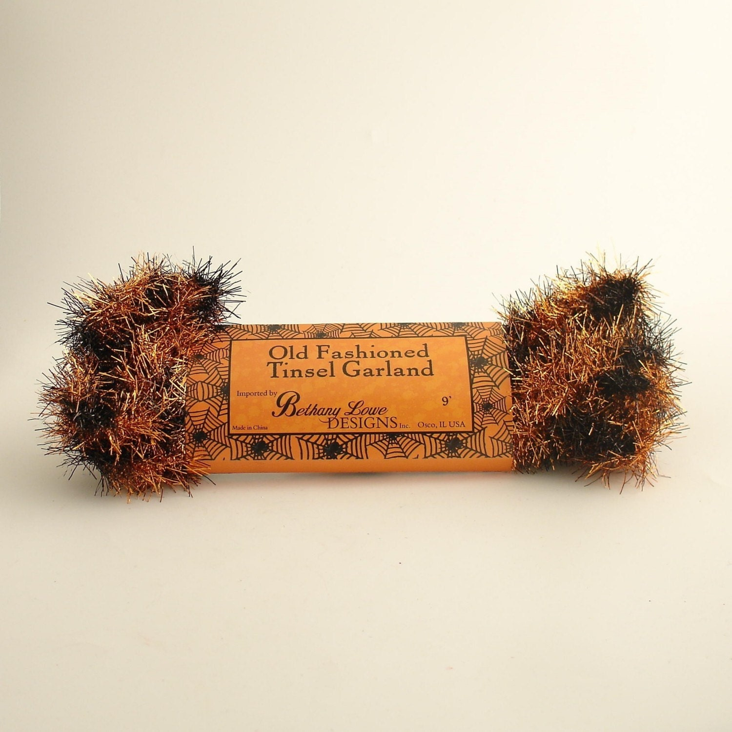 Orange and black vintage style wired tinsel garland halloween