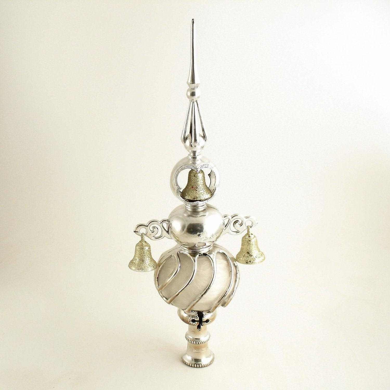 Vintage Silver Tree Topper Bells Angel Hair Christmas
