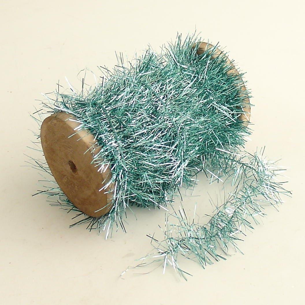 Tinsel garland aqua christmas tree decoration lametta wood