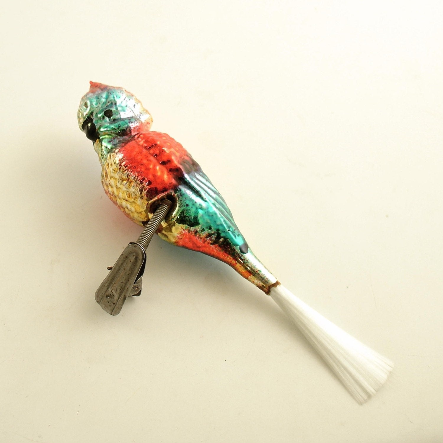 Vintage Glass Clip On Parrot Christmas Tree Ornament
