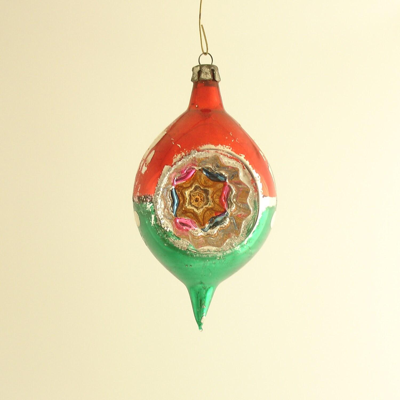 Vintage Christmas Ornament Glass Teardrop Indent