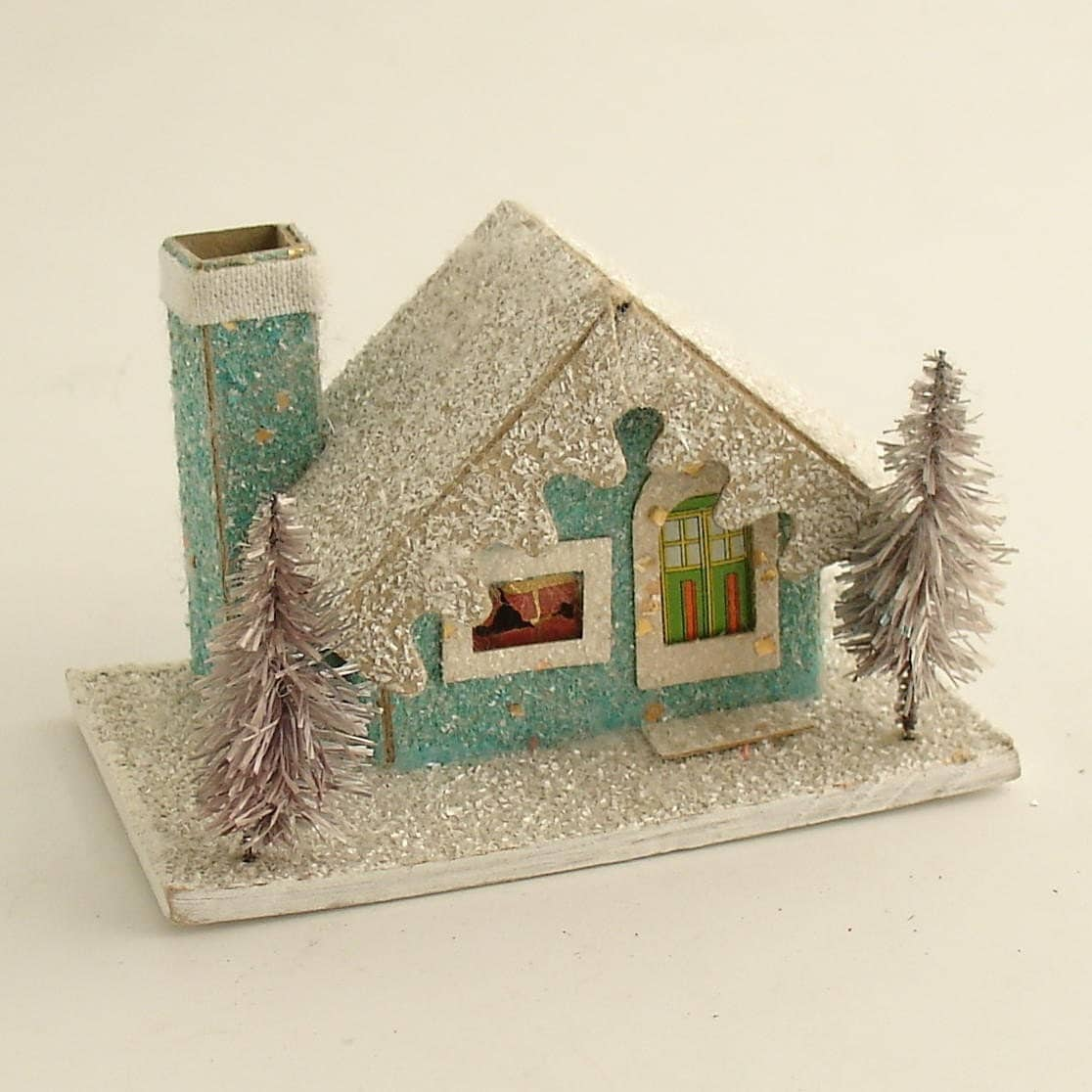 Vintage christmas mica putz house w bottle brush trees village for Vintage christmas decorations