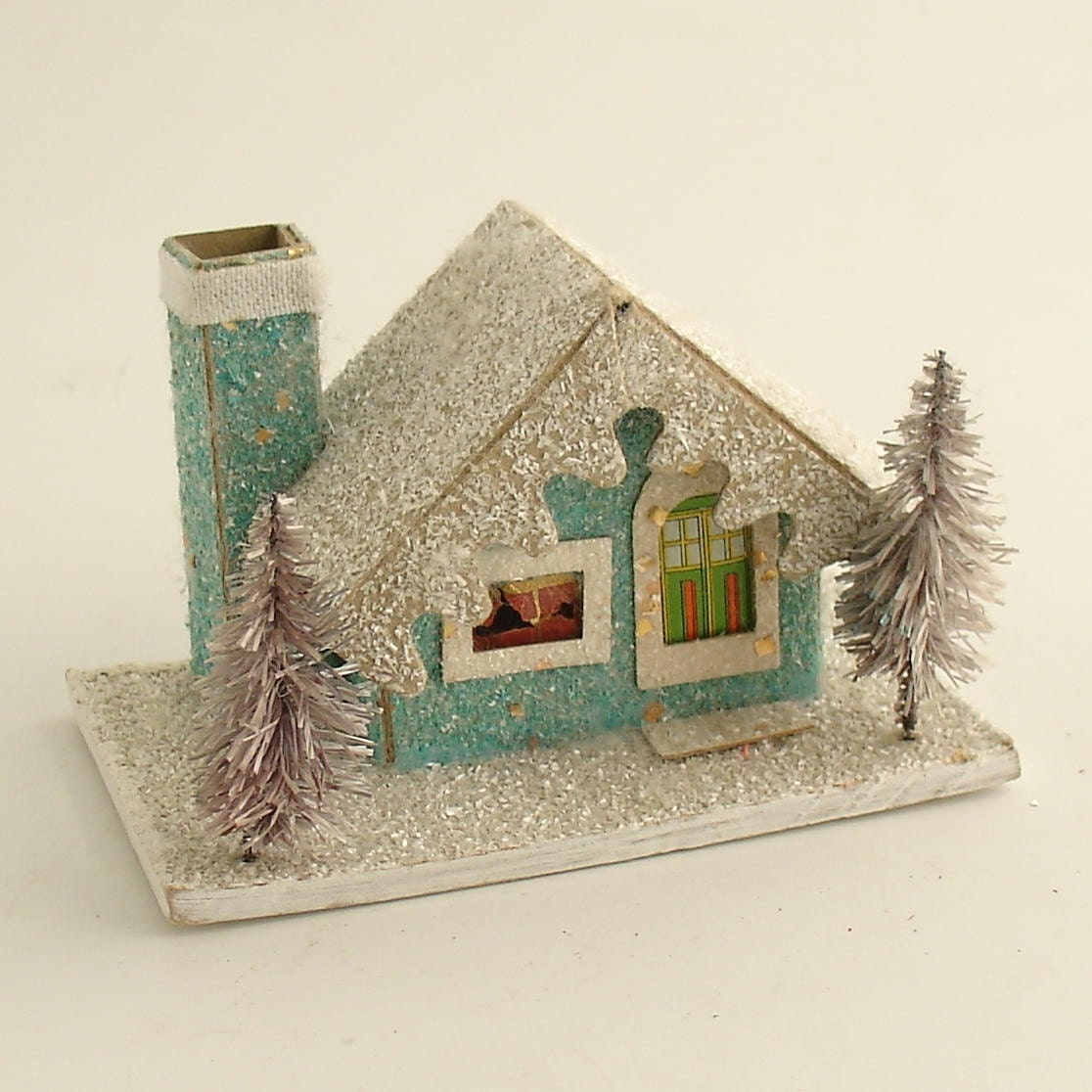 Vintage Christmas Mica Putz House w Bottle Brush Trees Village