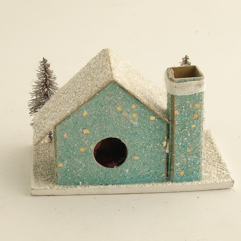 Vintage Christmas Mica Putz House W Bottle Brush Trees Village