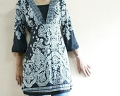 clearance sale - Cream with Black print  with  black/silver Lace V stiched on to tops