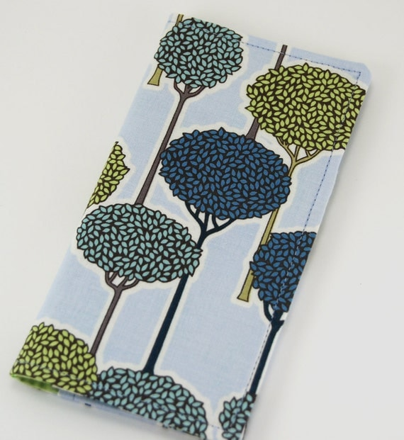 Fabric Checkbook Cover for DUPLICATES, Checkbook Wallet, Women's Wallet, Checkbook Holder, green brown blue