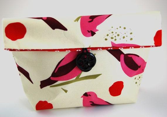 Fabric Makeup Bag, Cosmetic Bag, Lingerie Bag, Travel Bag, Make up Bag, Pink Birds