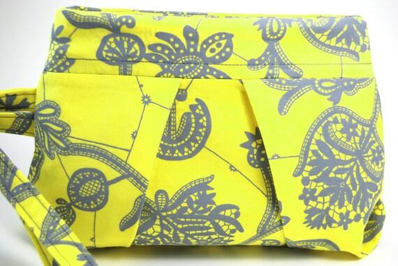 Wristlet, Women's Purse, Women's Clutch, Amy Butler, yellow gray grey