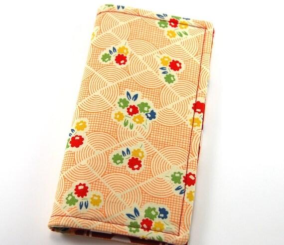 Fabric Checkbook Cover, Checkbook Wallet, Women's Wallet, orange retro print, red white polka dots