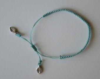 CUSTOM Little Leaves Bracelet - Silver charm with poly cord and a macrame adjustable sliding knot