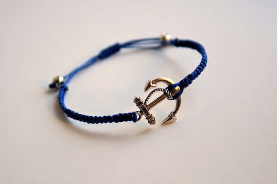 CUSTOM Anchor Bracelet - silver and poly cord with macrame adjustable sliding knot