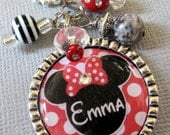 Polka Dots Mouse Inspired PERSONALIZED NAME Silver Pendant Necklace OR Keychain -  Birthday Gift, Vacation, Cruise