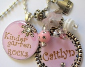 Princess Pink Leopard PERSONALIZED Name and Grade Rocks Silver Pendant Necklace - Back To School, Kindergarten Rocks, Class of 2025
