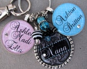 Grandma Keychain Personalized Name Black  Paisley Double Silver Pendant Necklace OR keychain - Mom, Grandma, Grammi, Mimi, Mother's Day Gift