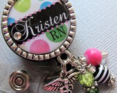 Nurse Personalized Name ID Badge Reel - RN, NP,  nicu, L&D medical office, nurse practitioner, medical symbol charm, nurse graduate