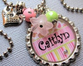 Big Sister Gift OR Little Sister PERSONALIZED Bottle Cap Necklace - Sister Gift, Baby Shower, Birthday Gift