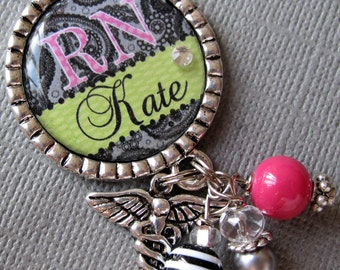 RN, NP Nurse ID Badge Reel Personalized Name Silver Pendant  - medical symbol, medical office, nurse, nurse practitioner