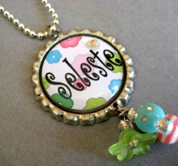 Multi Flower PERSONALIZED NAME Bottle Cap Necklace