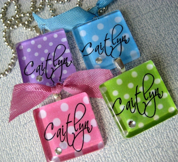 Polka Dot Glass Tile  PERSONALIZED  NAME Necklace - Flower Girl, Birthday Gift, Get Well Gift