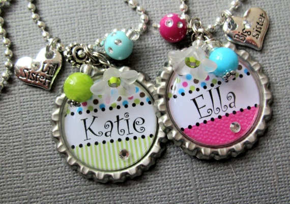 Big Sister Necklace PERSONALIZED NAME - Little Sister, Sister Gift, baby shower, polka dot, new baby, heart charm