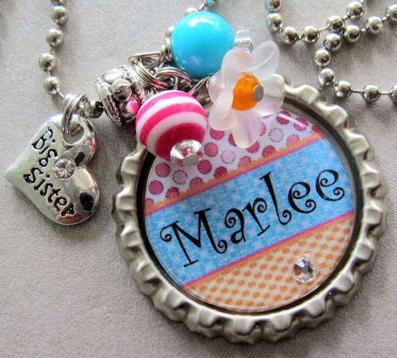 Big Sister Necklace PERSONALIZED NAME - Little Sister, Sister Gift, baby shower, polka dot, new baby, princess crown, sister heart charm